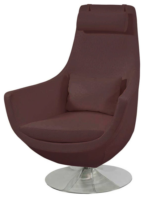 Astro comfortable swivel chair brown contemporary for Modern swivel accent chair