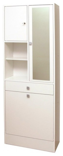 armoire et bac linge blanc mat avec placards et tiroirs. Black Bedroom Furniture Sets. Home Design Ideas