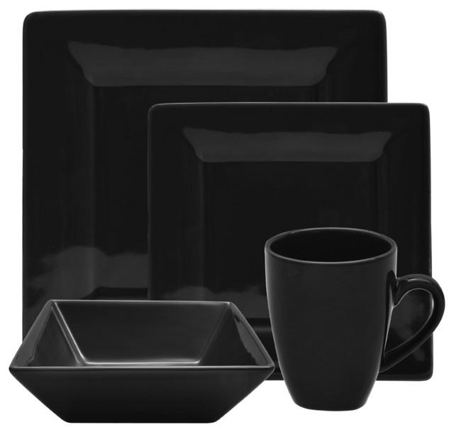 Nova 16 Piece Square Dinner Set Black Dinnerware Sets  : dinnerware sets from www.houzz.com size 640 x 608 jpeg 30kB