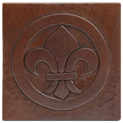 Fleur De Lis Copper Tile Contemporary Accent Trim And