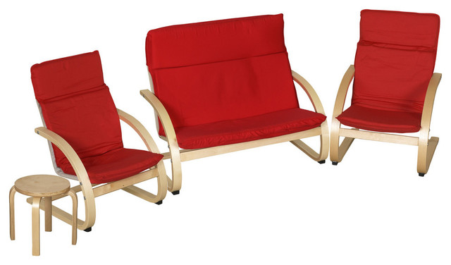 Bentwood 4 piece comfort living room set contemporary for 4 piece living room table set