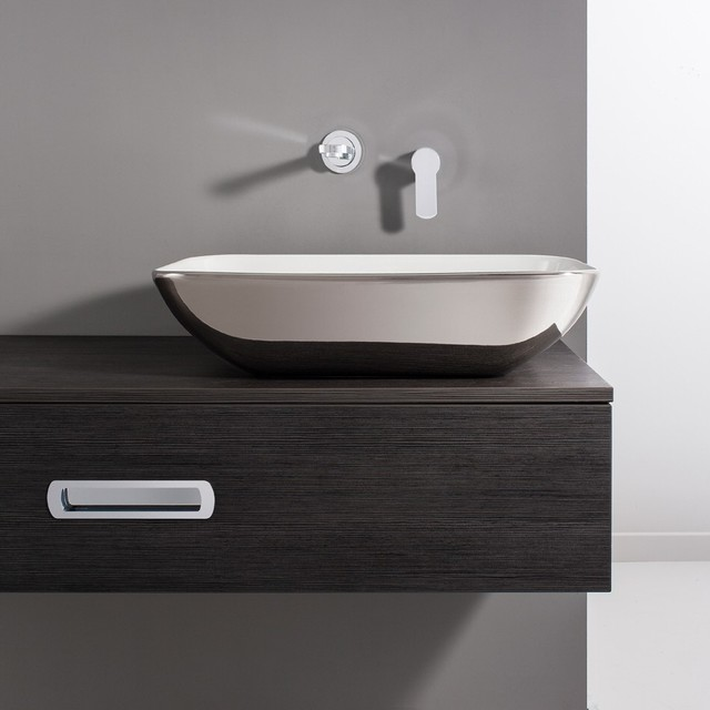 Bauhaus serene platinum countertop basin contemporary bathroom sinks by bigbathroomshop - Designer bathroom sinks basins ...
