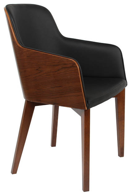 arm chair black eco leather wood base scandinavian dining chairs