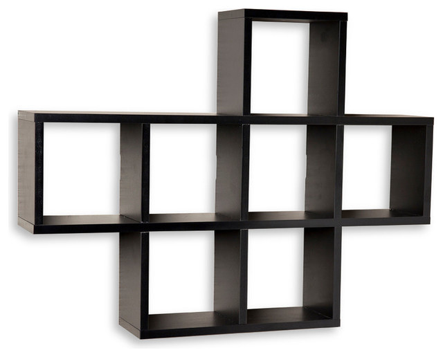 Square cubby shelving unit laminated walnut wood veneer for Contemporary display shelves