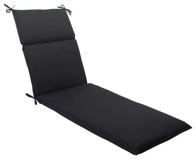 Fresco chaise lounge cushion black contemporary for Black and white striped chaise lounge cushions