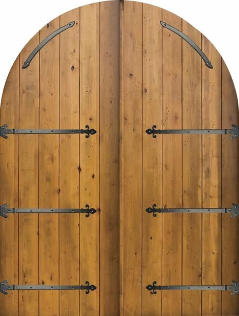Slab External Double Door 96 Wood Alder Rustic Plank Round