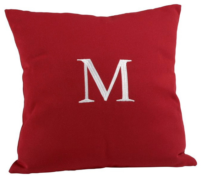 Monogrammable Outdoor Pillow, Cherry Red - Traditional - Outdoor Cushions And Pillows - by ...