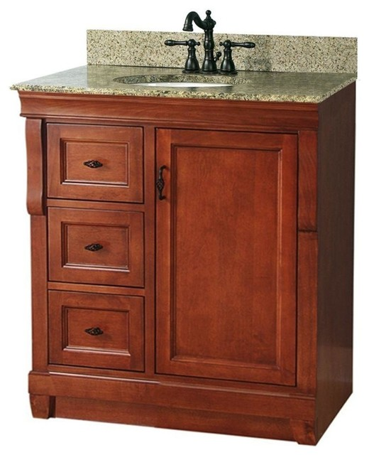 Naples Vanity With Left Drawers Warm Cinnamon With Granite Vanity Top Traditional Bathroom