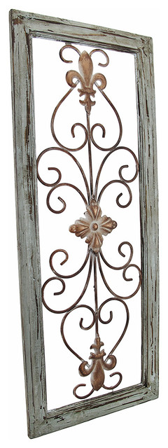 Wrought Iron Wall Decor With Wood Frame : Distressed wooden green frame wrought iron fleur de lis