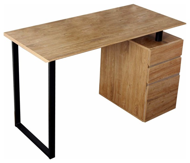 Computer Desk With Storage and File Cabinet, Pine - Modern - Desks And ...