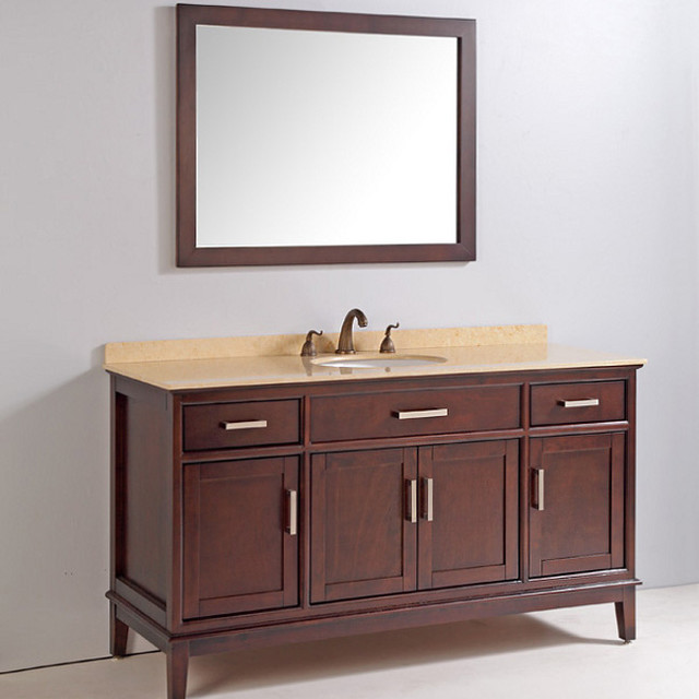 Marble Top 60 Inch Single Sink Bathroom Vanity With Mirror And Faucet Conte