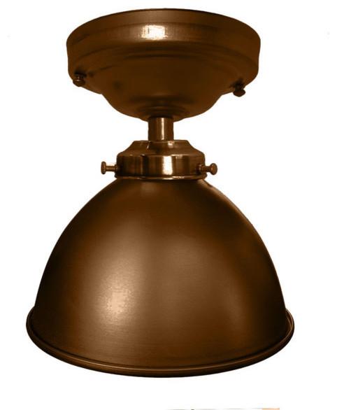 Flush mount metal factory industrial pendant light bronze for Industrial flush mount lighting