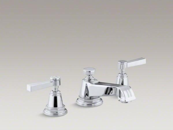 Kohler Pinstripe R Widespread Bathroom Sink Faucet With Lever Handles Contemporary Bathroom
