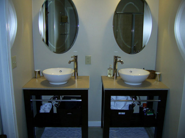 Open Vanity And Vessel Sinks Contemporary Bathroom Indianapolis By Indy Renovations