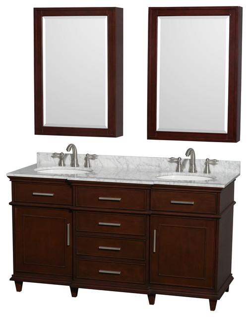 Berkeley 60 dark chestnut vanity carrera marble top - Muebles de lavabo ...