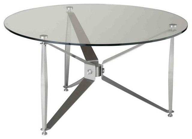 Stein World Bruscata 36 Inch Round Cocktail Table In Stainless Steel Contemporary Coffee