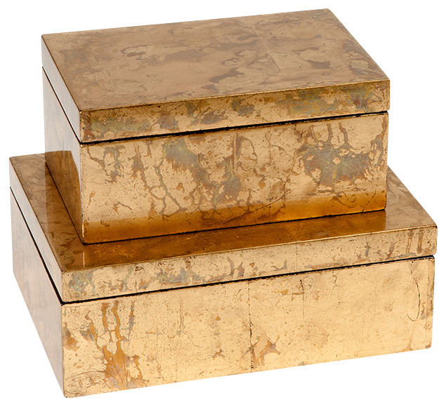 Studio A Luxe Gold Leaf Box, Large - Contemporary - Decorative Boxes - by Seldens Furniture