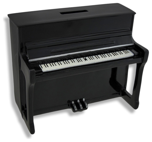 Black Upright Piano Coin Bank - Traditional - Piggy Banks - by Zeckos