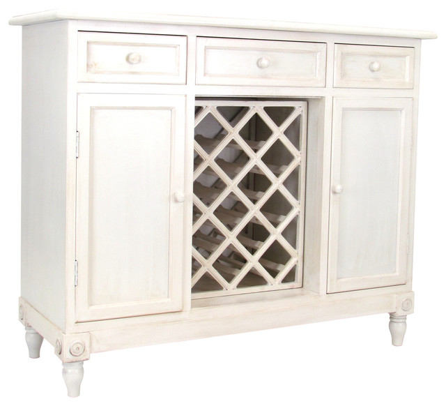 White Sideboards And Buffets: Wine Rack Sideboard, Aged White