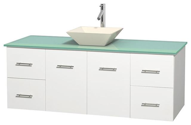 Centra 60 matte white vanity green glass top bone - Muebles de lavabo ...