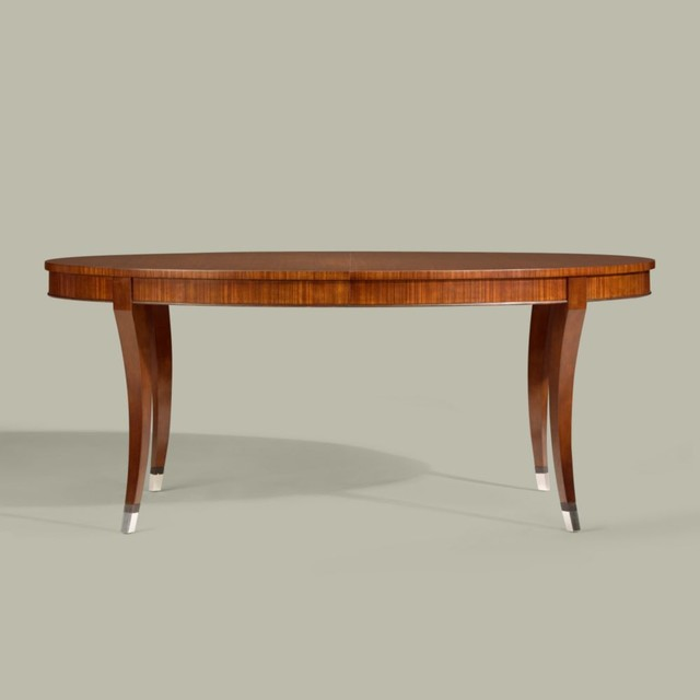 Modern glamour oval dining table traditional dining for Traditional dining table with bench