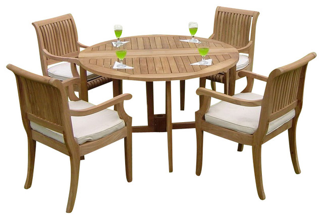 Piece dining set 48 quot round butterfly table and 4 giva arm chairs