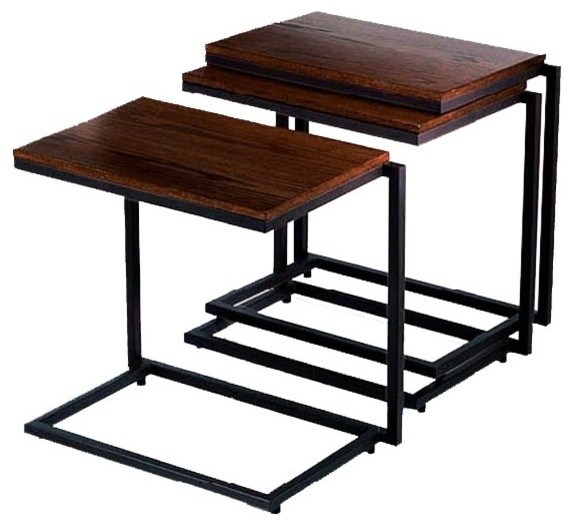 Wide stacking c table in java finish contemporary side for Coffee tables 50cm wide