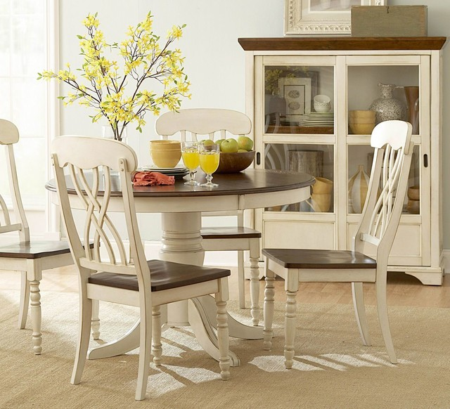 piece round dining room set in white cherry contemporary dining