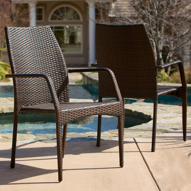 Christopher Knight Home Canoga Outdoor Wicker Chairs Set of 2 Contemporar