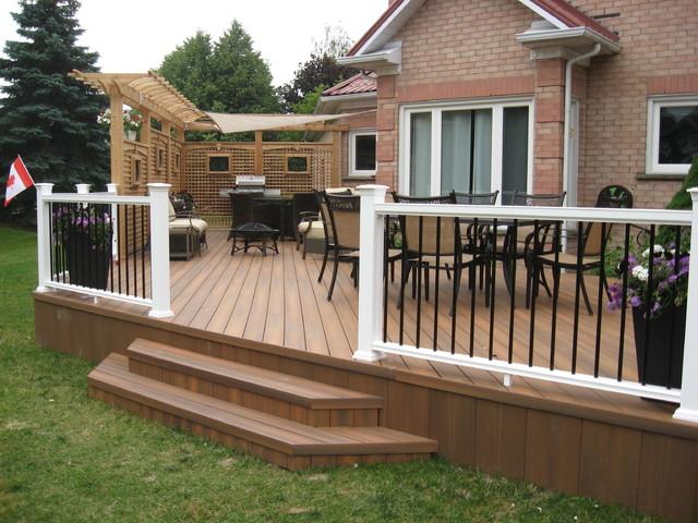 Composite decking p v c decking traditional deck for Composite garden decking
