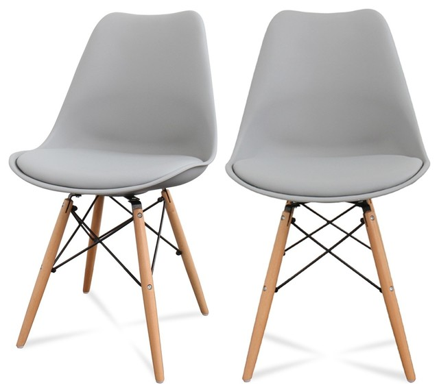 Lot de 2 chaises design ormond dsw couleur gris for Chaise couleur salle a manger