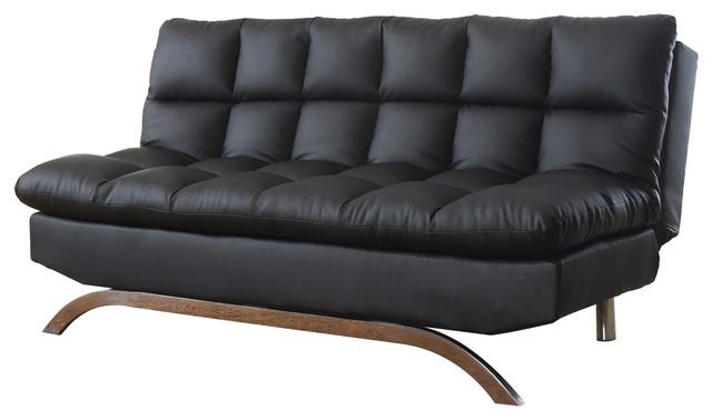 Lugo Plush Futon Sofa Bed Black Contemporary Futons