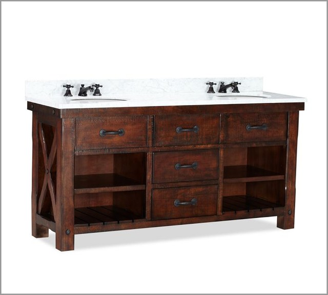 Benchwright double sink console contemporary bathroom for Bathroom consoles and vanities