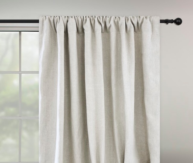 Natural linen draperies pebble contemporary curtains by