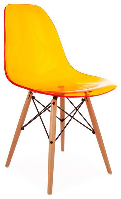 Orange Ghost Chair Ghost Style Molded Acrylic Beech Wood Leg DSW Chair .