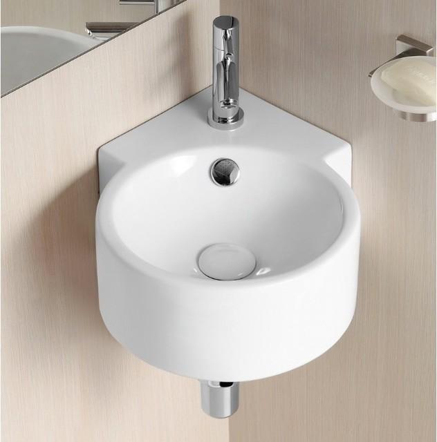 Round White Ceramic Wall Mounted Corner Bathroom Sink - Contemporary - Bathroom Sinks - by ...