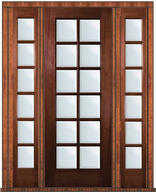 Prehung French Sidelights Door 96 Wood Mahogany Full Lite 12 Lite Traditional Patio Doors