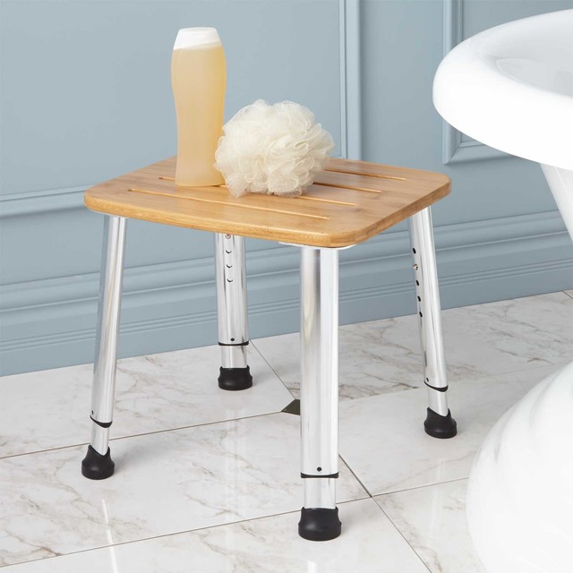Adjustable height bamboo shower stool traditional vanity stools and benches - Counter height vanity chair ...