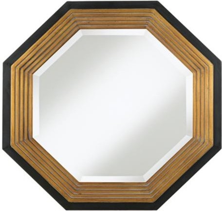 Bronze And Black Wide Octagonal Wall Mirror Contemporary