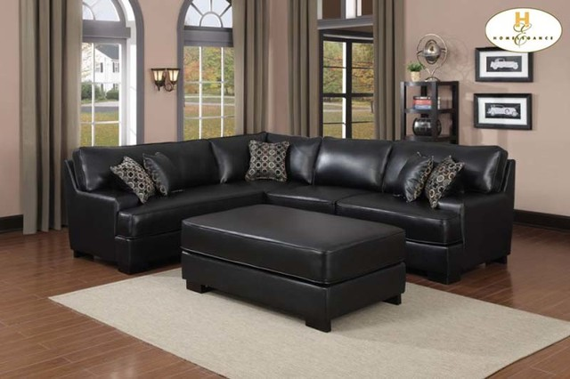 Homelegence Modern Black Leather Sectional Sofa Corner