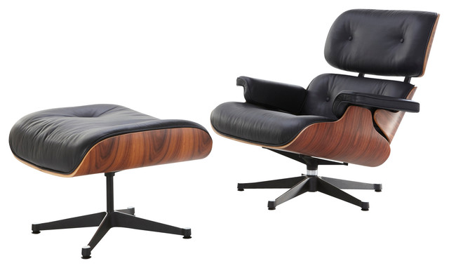 Mid century modern lounge chair and ottoman black italian leather and walnut midcentury - Mid century chaise lounge chair ...