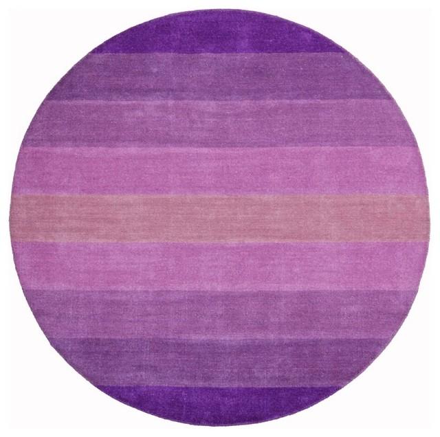 Purple Circle Rugs: Striped Aspect Area Rug, Purple, Round 6'