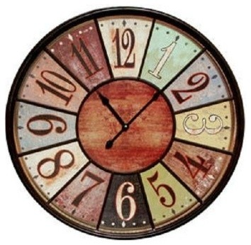 Jumbo Tuscan Wooden Number Wall Clock Extra