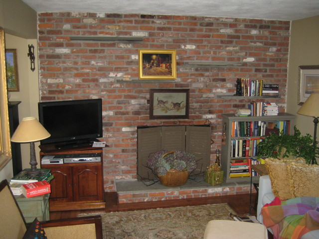 Before Photo of 70s era brick wall with fireplace