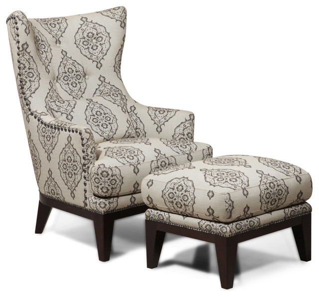 Simon Li Fabric Accent Chair And Ottoman Set Light Gray Marquis Transition