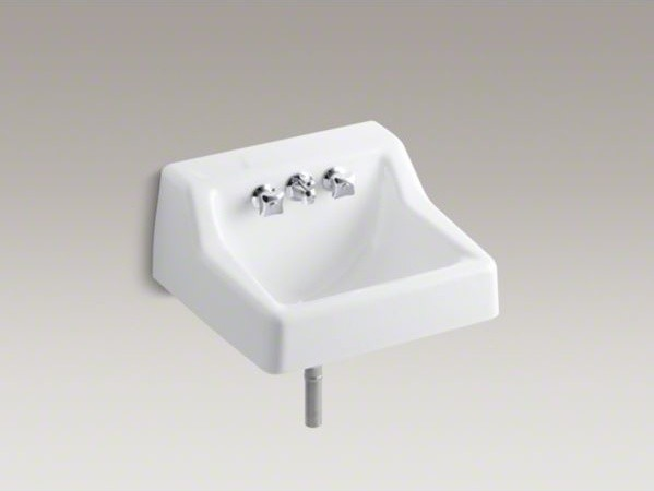 kohler hampton tm wall mounted commercial bathroom sink with factory installed contemporary