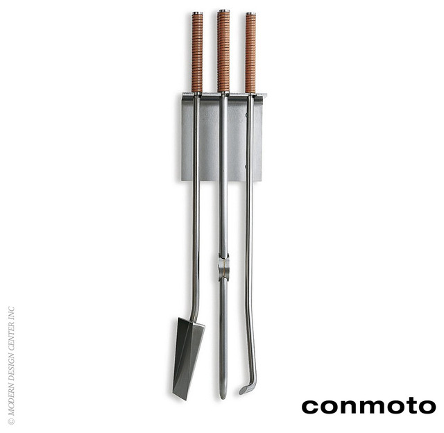 Conmoto Fireside Wall Mounted Tools Set Of 3 Modern Fireplace Accessories Los Angeles