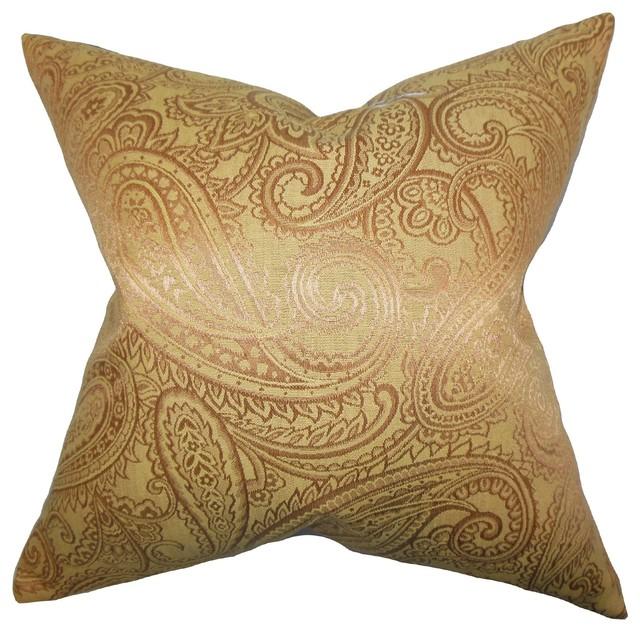 Traditional Decor Pillows : Cashel Paisley Pillow Yellow 18