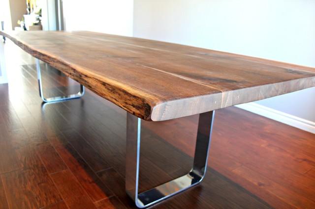 Salvaged Live Edge Walnut Harvest Table With Chrome Base
