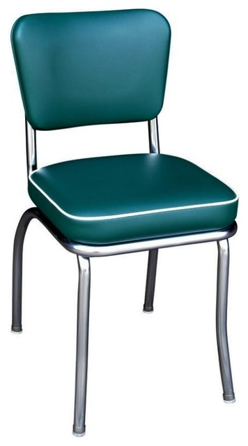 Chrome Kitchen Chair, Green, Box Seat - Midcentury - Armchairs And Accent Chairs - by Richardson ...